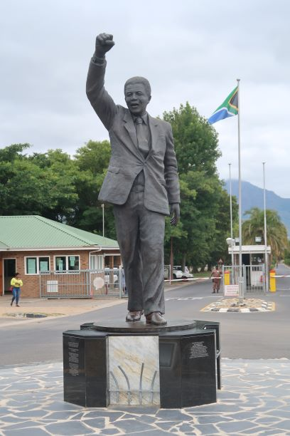 The bronze statue of Mandela outside Groot Drakenstein Prison unveiled on his 90th birthday NM MANDY RAMSDEN