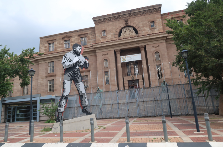 Marco Cianfanelli's steel statue of Mandela sparring in front of Johannesburg's Central Magistrates Court MANDY RAMSDEN